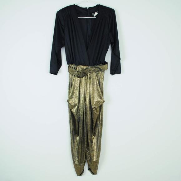 88cad371bd8d Vintage 80s Jumpsuit Gold Metallic Plunge Neck. M 5b8035cc5c4452ad5484fd37